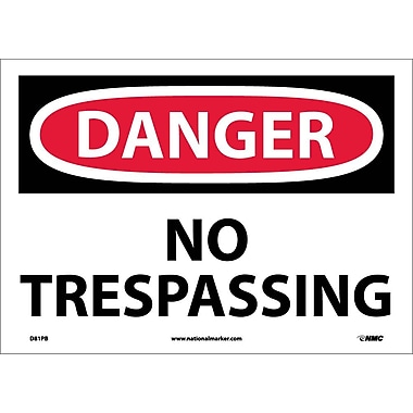 Danger, No Trespassing, 10X14, Adhesive Vinyl