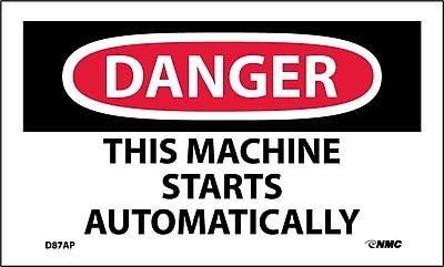 Labels - Danger, This Machine Starts Automatically, 3X5, Adhesive Vinyl, 5/Pk