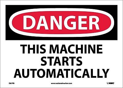 Danger, This Machine Starts Automatically, 10X14, Adhesive Vinyl