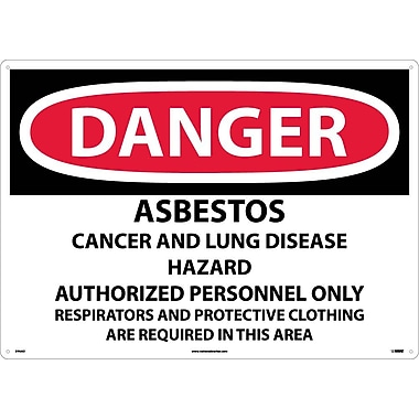 Danger, Asbestos Cancer And Lung Disease Hazard, 20X28, .040 Aluminum
