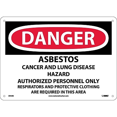 Danger, Asbestos Cancer And Lung Disease Hazard, 10X14, Rigid Plastic