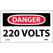 Labels - Danger, 220 Volts, 3X5, Adhesive Vinyl, 5/Pack