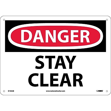Danger, Stay Clear, 10X14, .040 Aluminum