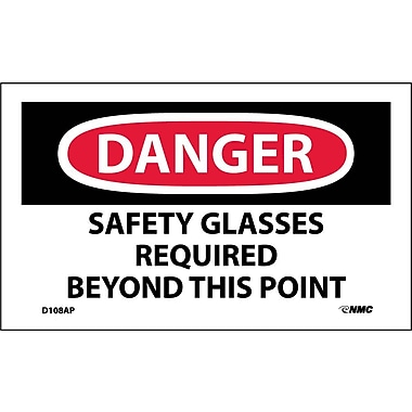Labels - Danger Safety Glasses Required Beyond This Point, 3X5, Adhesive Vinyl, 5Pk