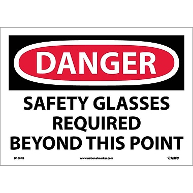 Danger, Safety Glasses Required Beyond This Point, 10X14, Adhesive Vinyl
