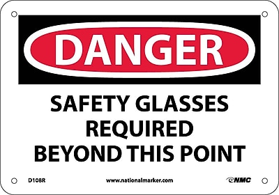 Danger, Safety Glasses Required Beyond This Point, 7X10, Rigid Plastic