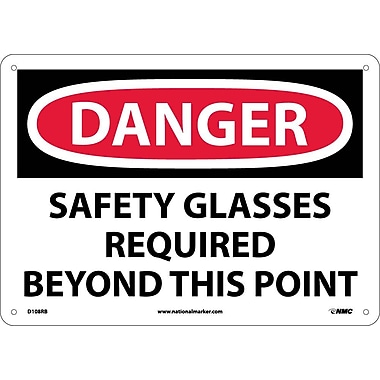Danger, Safety Glasses Required Beyond This Point, 10X14, Rigid Plastic