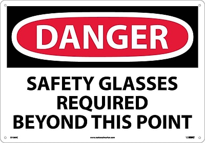 Danger, Safety Glasses Required Beyond This Point, 14X20, Rigid Plastic