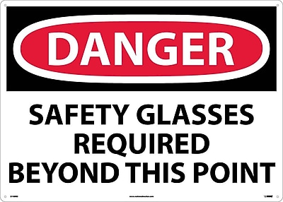 Danger, Safety Glasses Required Beyond This Point, 20X28, Rigid Plastic