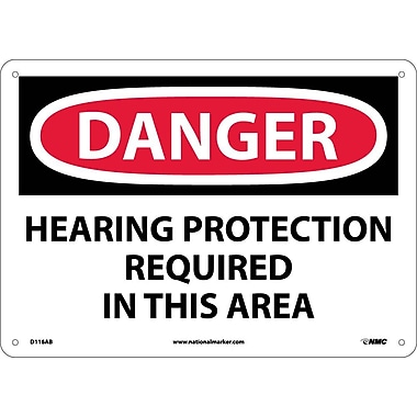 Danger, Hearing Protection Required In This Area, 10X14, .040 Aluminum