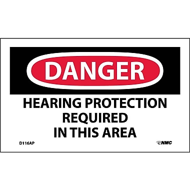 Labels - Danger, Hearing Protection Required In This Area, 3X5, Adhesive Vinyl, 5/Pk