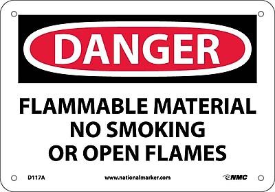 Danger, Flammable Material No Smoking Or Open Flames, 7X10, .040 Aluminum