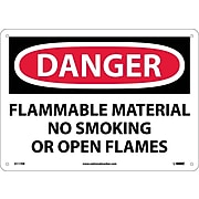 Danger Signs; Flammable Material No Smoking Or Open Flames, 10X14, Fiberglass