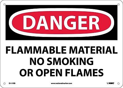 Danger, Flammable Material No Smoking Or Open Flames, 10X14, Fiberglass