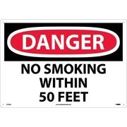 Danger, No Smoking Within 50 Feet, 14X20, .040 Aluminum