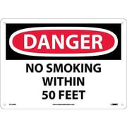 Danger, No Smoking Within 50 Feet, 10X14, Fiberglass