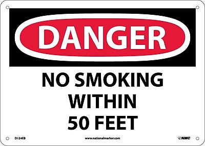Danger, No Smoking Within 50 Feet, 10X14, Fiberglass