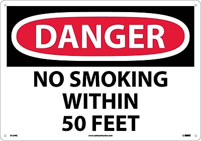 Danger, No Smoking Within 50 Feet, 14X20, Rigid Plastic