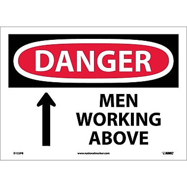 Danger, Men Working Above, 10X14, Adhesive Vinyl