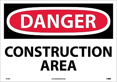 Danger, Construction Area, 14X20, Adhesive Vinyl