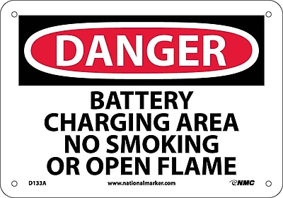 Danger, Battery Charging Area No Smoking Or Open Flames, 7X10, .040 Aluminum