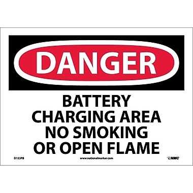 Danger, Battery Charging Area No Smoking Or Open. . ., 10X14, Adhesive Vinyl