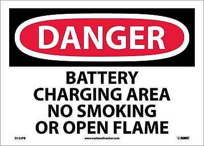 Danger, Battery Charging Area No Smoking Or Open. . ., 10X14, Adhesive Vinyl