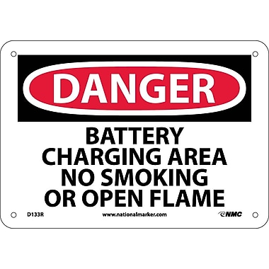 Danger, Battery Charging Area No Smoking Or Open. . ., 7X10, Rigid Plastic