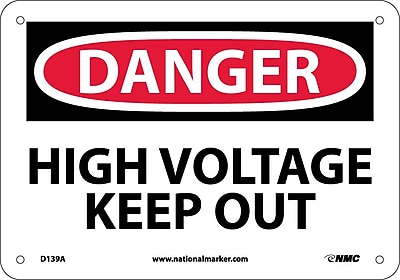Danger, High Voltage Keep Out, 7X10, .040 Aluminum