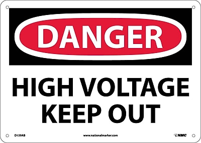 Danger, High Voltage Keep Out, 10X14, .040 Aluminum