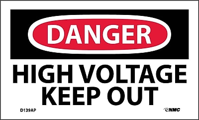 Labels - Danger, High Voltage Keep Out, 3X5, Adhesive Vinyl, 5/Pk