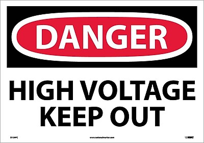 Danger, High Voltage Keep Out, 14X20, Adhesive Vinyl