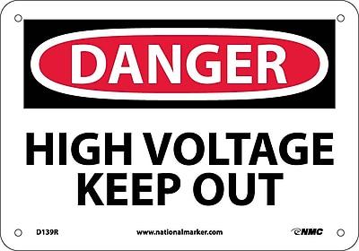 Danger, High Voltage Keep Out, 7X10, Rigid Plastic