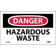 Labels - Danger, Hazardous Waste, 3X5, Adhesive Vinyl, 5/Pk