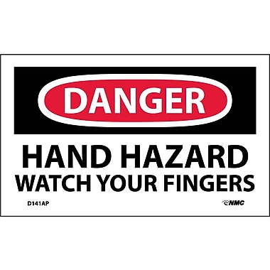 Labels - Danger, Hand Hazard Watch Your Fingers, 3X5, Adhesive Vinyl, 5/Pk
