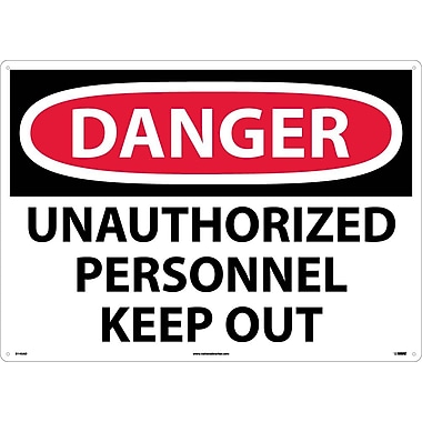 Danger, Unauthorized Personnel Keep Out, 20X28, .040 Aluminum