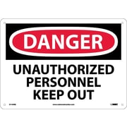Danger, Unauthorized Personnel Keep Out, 10X14, Rigid Plastic