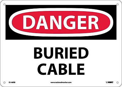 Danger, Buried Cable, 10X14, Rigid Plastic