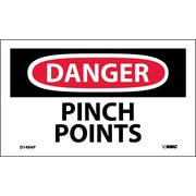 Labels - Danger, Pinch Points, 3X5, Adhesive Vinyl, 5/Pk