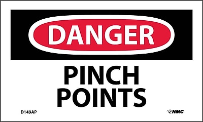 Labels - Danger, Pinch Points, 3X5, Adhesive Vinyl, 5/Pk