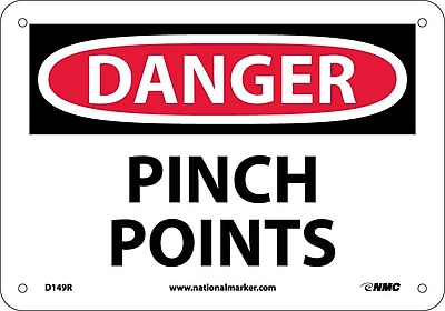 Danger, Pinch Points, 7X10, Rigid Plastic