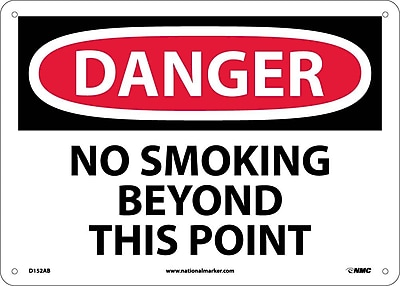 Danger, No Smoking Beyond This Point, 10X14, .040 Aluminum