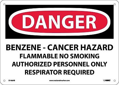 Danger, Benzene Cancer Hazard Flammable No Smoking, 10X14, .040 Aluminum