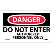 Labels - Danger, Do Not Enter Authorized Personnel Only, 3X5, Adhesive Vinyl, 5Pk