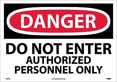 Danger, Do Not Enter Authorized Personnel Only, 14X20, Adhesive Vinyl