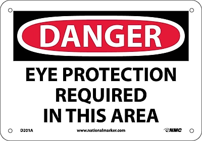 Danger, Eye Protection Required In This Area, 7X10, .040 Aluminum
