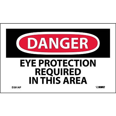 Labels - Danger, Eye Protection Required In This Area, 3X5, Adhesive Vinyl, 5Pk
