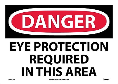 Danger, Eye Protection Required In This Area, 10X14, Adhesive Vinyl