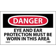 Labels - Danger, Eye And Ear Protection Must Be Worn In This Area, 3X5, Adhesive Vinyl, 5Pk