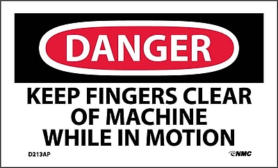 Labels - Danger, Keep Fingers Clear Of Machine While In Motion, 3X5, Adhesive Vinyl, 5/Pk